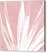 Pink And White Tropical Leaf- Art By Linda Woods Acrylic Print