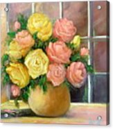 Pink And Yellow Roses Acrylic Print