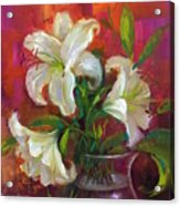 Pink Angel White Lilies Acrylic Print