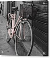 Pink Bicycle In Rome Acrylic Print