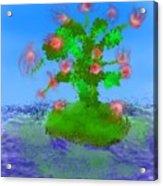 Pink Birds Ongreen Island Acrylic Print