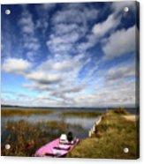 Pink Boat In Scenic Saskatchewan Acrylic Print
