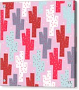 Pink Cactus Pattern Acrylic Print