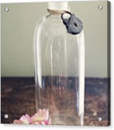 Pink Carnation Blossom And Vintage Glass Bottle Acrylic Print