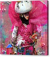 Pink Carnival Costumed Lady Acrylic Print