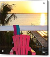 Pink Chair In The Keys Acrylic Print