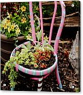 Pink Chair Planter Acrylic Print