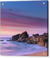 Pink Clouds And Rocky Headland Seascape Acrylic Print