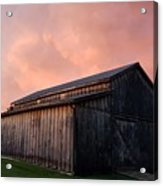 Pink Clouds Over Barn Acrylic Print