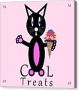 Pink Cool Treats - Cat Typography Acrylic Print