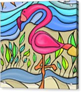 Pink Flamingo Glassy Acrylic Print