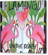 Pink Flamingos On The Beach Bar and Grill Acrylic Print