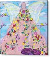 Pink Flower Angel Acrylic Print