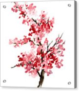 Cherry Blossom, Pink Gifts For Her, Sakura Giclee Fine Art Print, Flower Watercolor Painting Acrylic Print