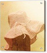 Pink Girls Hat On Farmyard Fence Post Acrylic Print