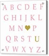 Pink Gold Abc Alphabet Heart Sampler Print Acrylic Print
