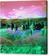 Pink Green Waterscape - Fantasy Artwork Acrylic Print
