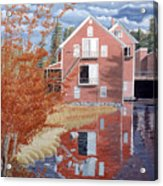 Pink House In Autumn Acrylic Print