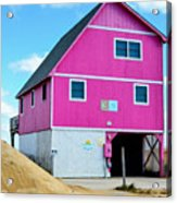 Pink House On The Beach 1 Acrylic Print