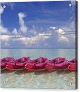 Pink Kayaks Lined Up Acrylic Print