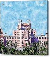 Pink Lady Don Cesar Watercolor Acrylic Print
