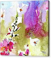 Pink Lavatera Floral Painting 1 Acrylic Print