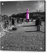 Pink Lighthouse Of St Ives Acrylic Print