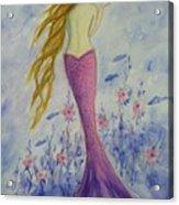 Pink Mermaid In Her Garden Acrylic Print