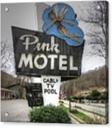 Pink Motel Sign Maggie Valley North Carolina Acrylic Print