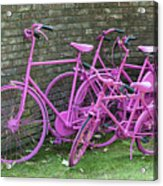 Pink Painted Bikes And Old Wall Acrylic Print