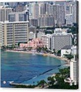Pink Palace Waikiki Honolulu Acrylic Print