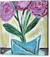 Pink Peonies-gray Table Acrylic Print