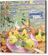 Pink Plate Of Pears Acrylic Print by Elizabeth Jane Lloyd