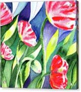 Pink Poppies Batik Style Acrylic Print