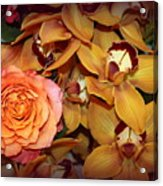 Pink Rose And Yellow Orchids Acrylic Print