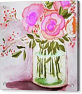 Pink Roses By Toni Acrylic Print