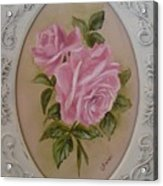 Pink Roses Oval Framed Acrylic Print