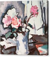 Pink Roses Acrylic Print by Samuel John Peploe