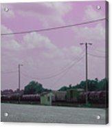 Pink Sky And Trains Acrylic Print