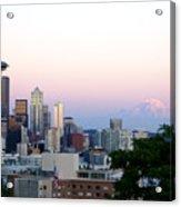 Pink Sky Over Mount Rainier Acrylic Print