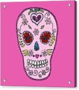 Pink Sugar Skull Acrylic Print