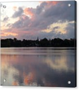Pink Sunrise With Dramatic Clouds And Steeple On Jamaica Pond Acrylic Print