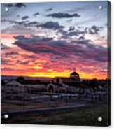 Pink Sunset Behind A Church Acrylic Print