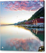 Pink Sunset Over A Lagoon In Norway Acrylic Print