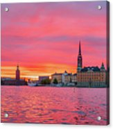 Pink Sunset Over Stockholm Acrylic Print