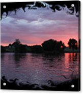 Pink Sunset Panorama With Black Framing Acrylic Print