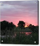 Pink Sunset With Green Riverbank Acrylic Print