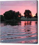 Pink Sunset With Soft Waves Acrylic Print