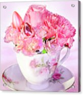 Pink Teacup Bouquet Acrylic Print