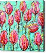 Pink Tulip, Turquoise Acrylic Print